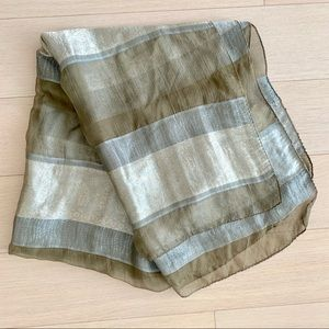 Olive green silver gray silk sheer scarf